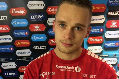 LANGT NEDE: Kent-Are Antonsen kjempet mot tåreene i pressesonen lørdag kveld. Han scoret et drømmemål mot Bodø/Glimt, men det som skulle bli den perfekte kvelden endte med et bittert tap for TIL og 23-åringen fra Storsteinnes.