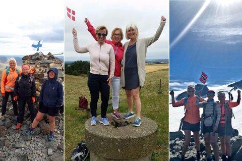 PÅ TUR: Her er de tre søstrene Vivi Engen, Merethe Kristiansen og Mari-Ann Benonisen på henholdsvis Halti, Møllerhøj og Galdhøpiggen. Foto: Privat