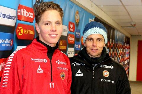FÅR STARTDEBUT: TIL-trener Simo Valakari (t.h.) gir sønnen Onni (t.v.) første sjanse fra start i eliteserien når TIL møter Lillestrøm på bortebane mandag kveld.