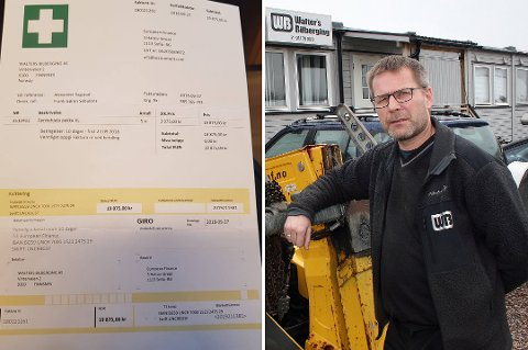 SVINDELFORSØK: Walters bilberging på Finnsnes er ett av flere selskap som den siste tiden har mottatt en slik svindelfaktura. Daglig leder Frank Sebulonsen (bildet) ante raskt ugler i mosen da han fikk se fakturaen.