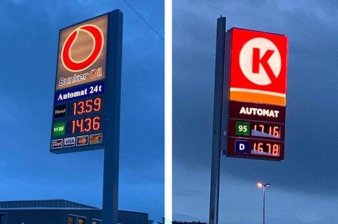 I dag er det store forskejller på bensinprisen i Tromsø. Foto: Andreas Høyer
