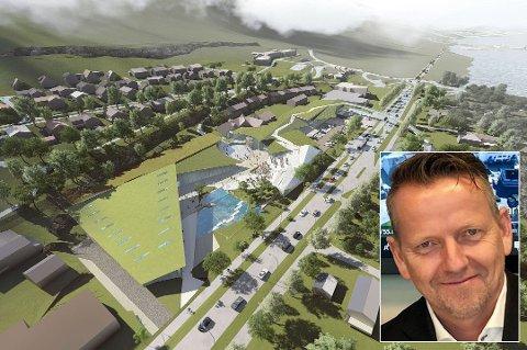 STORE PLANER: Et av forslagene, fra Niels Torp Arkitekter, for det nye Slettatorget. Innfelt er markedssjef i Pellerin, Morten Tidemann.