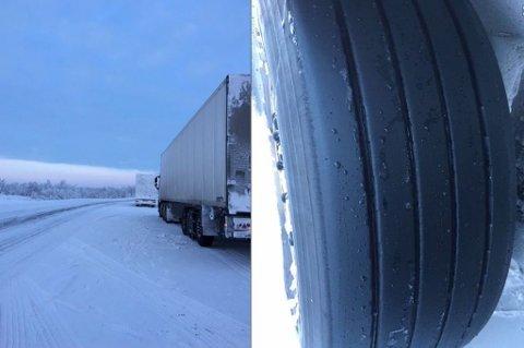 IKKE GODE NOK DEKK: Syv av de 11 kjøretøyene som fikk brukforbud hadde ikke dekk somvar egnet for is- og snøforhold. Foto: Statens vegvesen