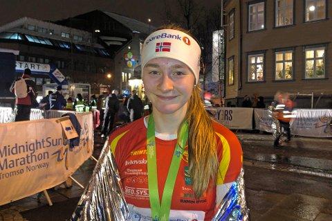 NYE MÅL: Abelone Holm Irgens har ambisjoner om å klare kravet til senior-NM. Lørdag var hun første kvinne i mål i  5-kilometersklassen.