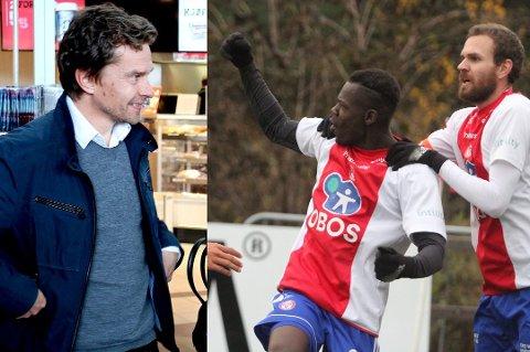 SPISSJAKT: TILs sportssjef Svein-Morten Johansen får tirsdag svar om KFUM sender toppscorer Moses Dramwi Mawa (t.h) på prøvespill til Tromsø i neste uke.