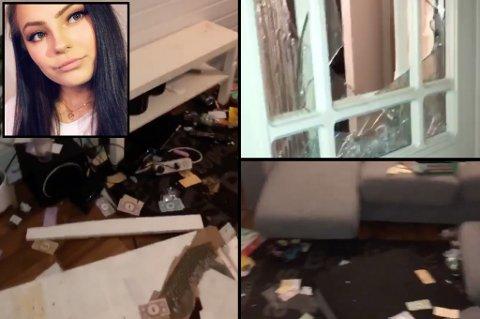INNBRUDD: Det var store skader i leiligheten til Sofie Evelina Angell etter at noen hadde tatt seg inn.