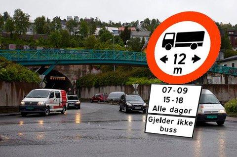 STENGES I RUSHTIDEN: I januar besluttet Tromsø brann og redning at det er for farlig å slippe lange lastebiler i Tromsø-tunnelene i rushtrafikken. Foto: Arkiv/fotomontasje