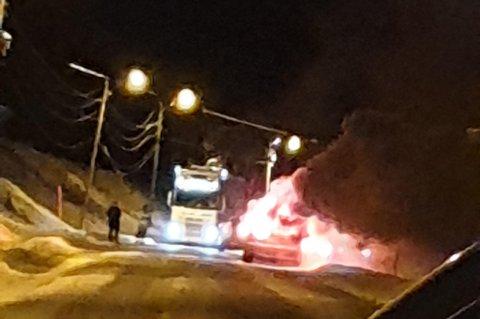 OVERTENT: Bilen ble overtent.