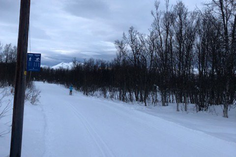 IKKE NOK SNØ: Friluftsrådgiver i Tromsø kommune, Henrik Romsaas, forteller at det ikke er nok snø for å utvide gåsonene i løypene. Det kan skape uheldige situasjoner.