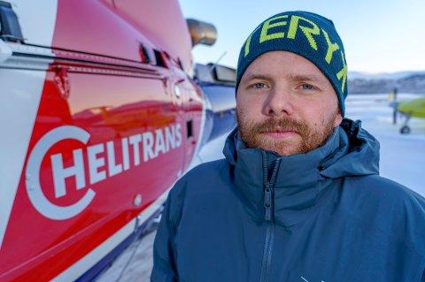 I JOBB: Stian Andre Aagnes (34) trodde ikke han skulle leve til jul, men er nå tilbake i jobb hos Helitrans i Tromsø.