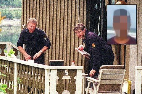 SIKTET: 38-åringen (innfelt) er siktet for drap, voldtekt og ildspåsettelse i forbindelse med dødsfallet til Marie-Louise Bendiktsen (59) i 1998. Her er politiet på åstedet like etter drapet. Foto: Stein Wilhelmsen/Skjermdump