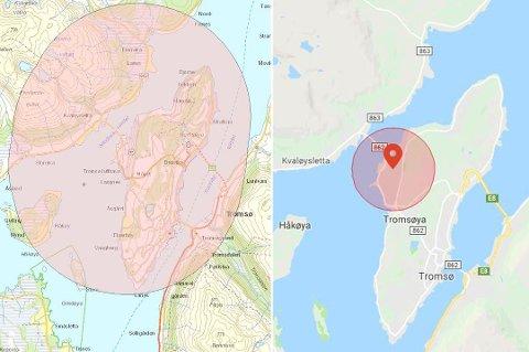 FORBUD: Kartet til venstre viser området rundt Tromsø lufthavn hvor Luftfartstilsynet har lagt ned forbud mot droneflyging. Kartet til høyre viser - det langt mindre - området hvor DJI har lagt inn geofencing rundt samme flyplass.