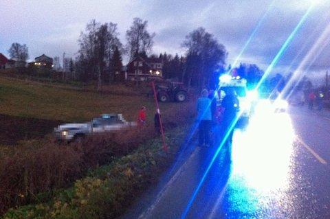 ULYKKEN: Stian Nordgård Måløy omkom i trafikkulykken på fylkesvei 858 ved Grønåsen i Balsfjord, om ettermiddagen den 12. oktober 2012. Dette var ett av flere bilder som ble publisert på nordlys.no. Her er personbilen sladdet.