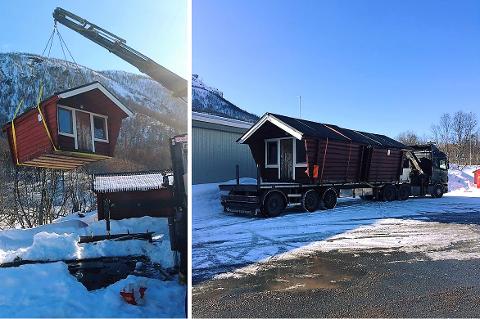 BYTTES UT: Fredag ble de første campinghyttene fjernet fra campingplassen i Tromsdalen.