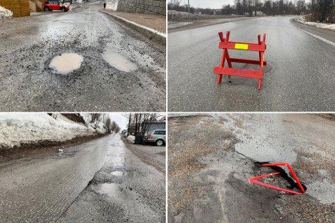 VÅRPROBLEMER: Flere av byens veier sliter etter vinteren. Kvamstykket (øverst til venstre), Huldervegen, Grønlivegen og Grimsbyvegen er blant veiene som har fått store hull.