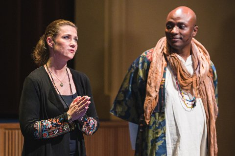 I TROMSØ: Prinsesse Märtha Louise og sjaman Durek Verrett på Verdensteatret i Tromsø tirsdag kveld