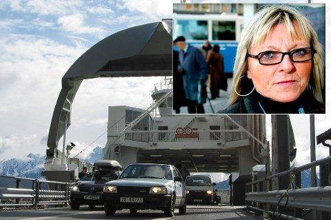 KAIKRASJ: Irene Segelvik er kritisk etter at ferga braste inn i kaia ved Breivikeidet fredag. Rederiet sier det var et uhell, og beskriver skaden som kosmetisk.