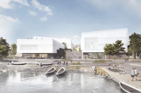 FRA UTSIDEN: Norges arktiske universitetsmuseum, sett fra utsiden. Museet på 19.700 kvadratmeter skal bestå av fire bygninger med ulike funksjoner. Materialvalg og uteområder er inspirert av den nordnorske naturen.
