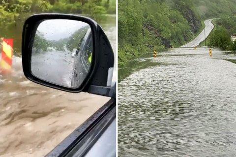 FLOM: Det var store vannmengder på fylkesvei 84 mandag morgen.