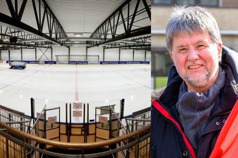 ISTVIST: Arild Hausberg (t.h.) mener Tromsø kommune ikke tar ishockeysporten i byen seriøst når de i år legger is enda senere enn normalt i ishallen. Kultur- og idrettssjef Lisa Hoen advarer om at en presset kommuneøkonomi kan få flere konsekvenser enn det for idretten i byen.