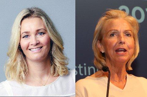 Anne Berit Figenschau (t.v) håper kompensasjonskomiteen i Norges idrettsforbund moderer lønningen til idrettspresident Berit Kjøll (t.h).