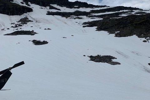 FUNN: Den omkomne personen ble funnet i dette området oppe på Blåbærfjellet. Vedkommende var ennå begravd under snøen.