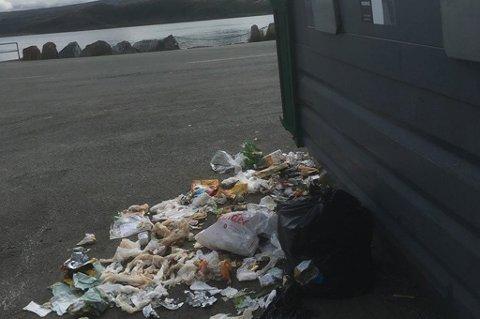 SKIT: Containeren ute på Rebbenesøya er full. Da har folk lagt søppelet utfor containeren istedenfor. Foto: Privat
