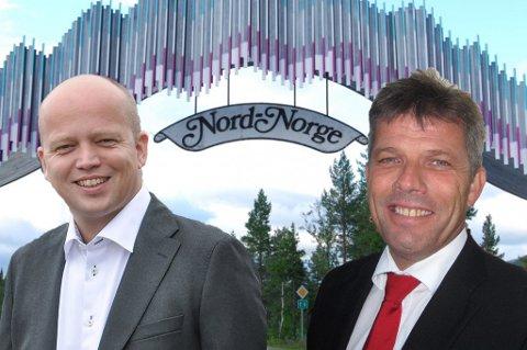 DETRONISERT: Arbeiderpartiet er detronisert i Nordlys' bartibarometer for hele Nord-Norge. Nå er Senterpartiet med partileder Trygve Slagsvold Vedum det største partiet i landsdelen. Til høyre er APs nye nestleder, Bjørnar Skjæran.