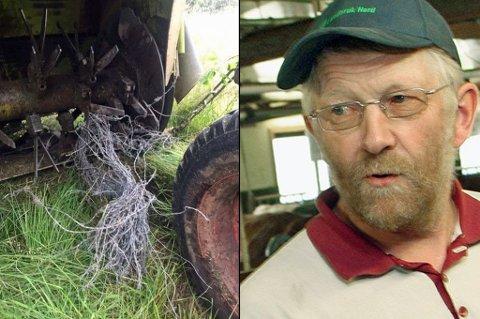 ILLSINT: Balsfjordbonden må ut med sure 50.000 kroner for å reparere maskinen ødelagt av piggtrådbunter. - Noen har lagt dem der, mener han.