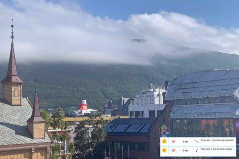 UFORUTSETT OVERSKYET: Ifølge yr har sola strålet over Tromsø i dag. I virkeligheten har det vært overskyet.
