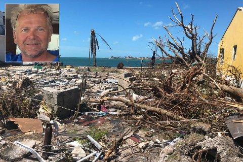 RASERT: Kjetil Solberg (innfelt) forteller om store ødeleggelser på Bahamas etter orkanen Dorian.