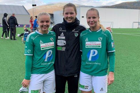 MÅLSHOW: Celine Emilie Nergård (f.v.) og Marthe Hansen scoret hvert sitt mål, mens Sandra Simonsen (t.h.) leverte tre scoringer - den siste var et lite kunststykke.