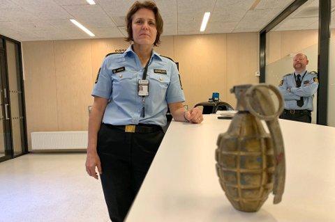 ÅRSAKEN: Denne øvelsesgranaten førte til at deler av politihuset ble stengt av torsdag ettermiddag.