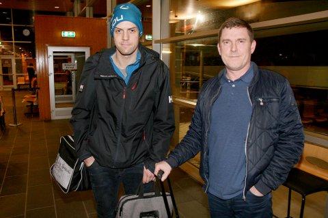FIN TUR: Daniel Sørensen (t.v.) og Gaute Amundsen sier at jomfruturen fra Tromsø til Finnsnes med den nye hurtigbåten var en postiv opplevelse.