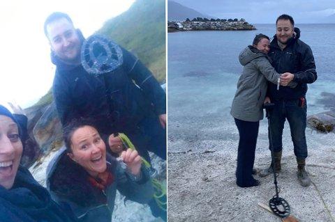SÅ GLAD! Anja Cecilie Solvik var helt sikkert på at klokka var forsvunnet, men  Lennart Blix Christensen visste råd. Venninnene Astrid Aure til venstre. Foto: Privat