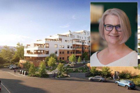 NYTT BOLIGPOROSJEKT: Norheim Terrasse skal etter planen ha byggestart i 2021. Innfelt: Megler Ingvild Bratterud.