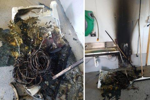 BRANN: Slik så det ut inne på fiskemottaket etter branntilløpet.