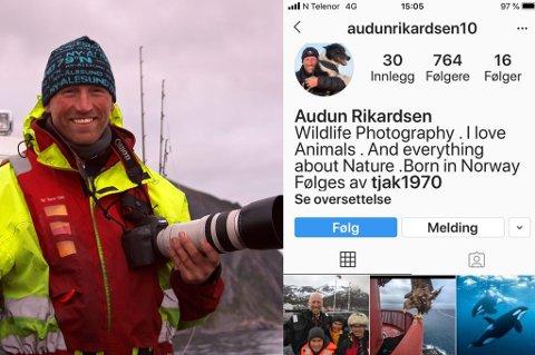 - LANGT OVER STREKEN: Naturfotograf og UiT-professor Audun Rikardsen liker svært dårlig at noen har opprettet en Instagram-konto i hans navn, hvor det både publiseres hans og andre naturfotografers bilder.