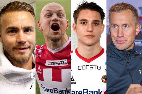 FIRERBANDE?: Alta IF håper de snart har avklart om de klarer å hente Hans Eriksen Norbye (nummer to f.v.) og Morten Gamst Pedersen (t.h.). Lykkes de med det, diskuteres også navn som Trond Olsen (t.v.) og Oliver Kjærgaard (nummer tre f.v.).