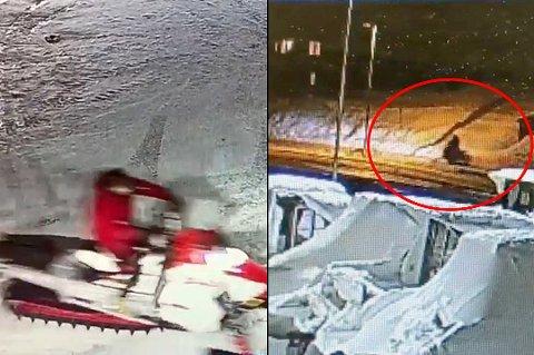 VILL FERD: Julaften fikk politiet flere meldinger om en mann som kjørte snøscooter på Tromsøya. Nå er en 32-åring tiltalt i saken. Overvåkingsbilder fra Maritim Center viser at mannen stjal snøscooteren, før han kjørte sørover langs gang- og sykkelstien på Stakkevollvegen.
