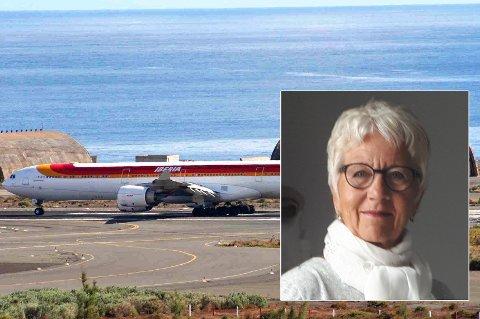 GRANCA-FAST: Turid Paulsen har ingen fly hjem fra Gran Canaria. Reiseselskapet ber henne dra på flyplassen å lete etter et ledig flysete til Norge. Ikke forpliktet til å hjelpe, svarer de.
