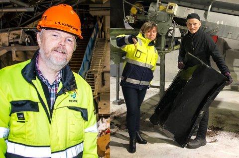 TOMMEL NED: Til høyre viser direktør Britt Mathisen Limo og Kåre Friskilæ ved sorteringanlegget hva de synes om at en TV dukket opp sammen med søppelposene. Ivar Sture Handeland (t.v.) og Mathisen Limo forteller om langt underligere ting som folk har kastet i dunkene sine.