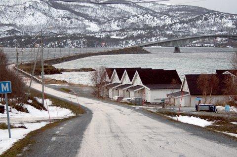 OMSTRIDT: Finnlandsnes Eiendom AS, med tidligere ordfører Rolf Espenes i spissen, har bygd rorbuer ved veien like ved Dyrøybrua.