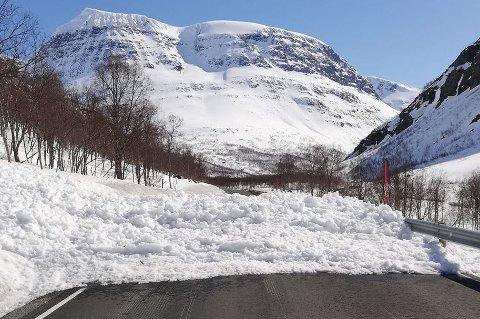 STENGT: Et snøskred gikk over veien i Tamokdalen torsdag. Veien vil være stengt til søndag på grunn av fare for nye skred. Flere andre veier kan også stenges dersom temperaturen øker ytterligere, sier Andreas Persson, geolog i Troms og Finnmark fylkeskommune.