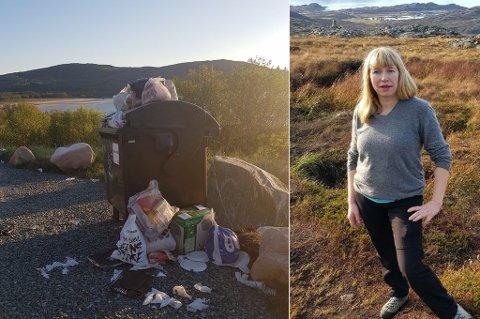 SØPPEL: Åshild Strømmesen er oppgitt over at folk ikke rydder etter seg, og alt søppelet som etterlates, når de camper på Sommarøya.