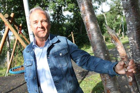 FARLIG: Spissen på et brukket tre i lekeparken på Finnsnes skadet barnebarnet til Odd Fredriksen i fjor sommer. Nå frykter han det skal skje igjen.