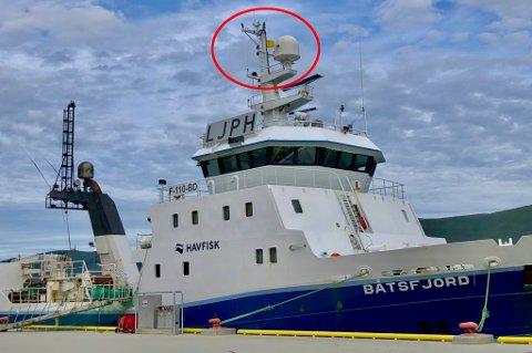 GULT FLAGG: Det gule flagget er heist på tråleren Båtsfjord, noe som viser at det mistenkes mulig smitte om bord.