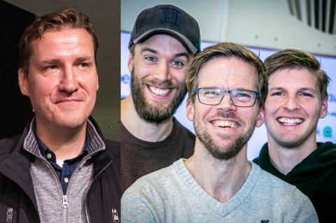 STORFISK: Den kjente fotballederen, speideren og mediamannen Tor-Kristian Karlsen har mye TIL-relatert å fortelle om til Martin Skaug, Anders Mo Hanssen og Jonas Høylo Fundingsrud.