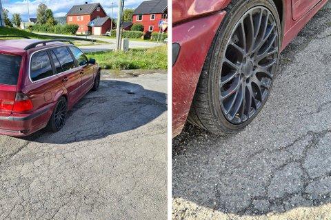 IRRITERENDE: Slik så bilen til Stig Rune Stien ut søndag formiddag. Utrolig irriterende, sier han om skadeverket.