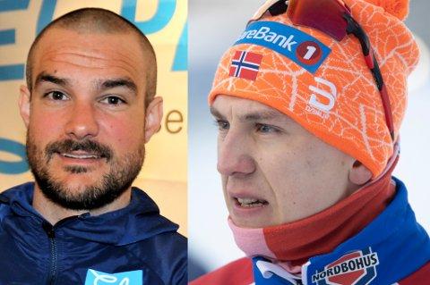 GOD KJEMI: Erik Valnes (t.h.) avbildet etter NM-gullet i Trondheim mandag. 24-åringen valgte å gi mye av gullæren til Kristian Skogstad (t.v.).